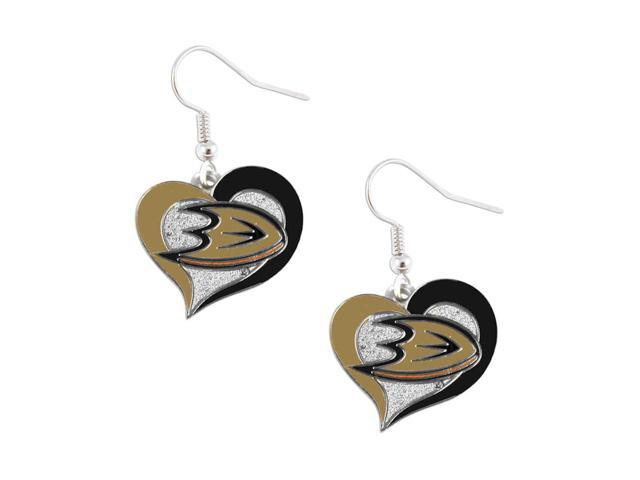 NHL Anaheim Ducks Swirl Heart Earring Dangle Logo Charm Gift Set