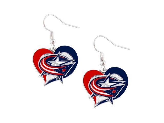 NHL Columbus Blue Jackets Swirl Heart Earring Dangle Logo Charm Gift Set