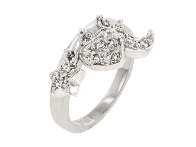 J Goodin Women Fashion Jewellery Triple Charm Wedding Ring Size 6