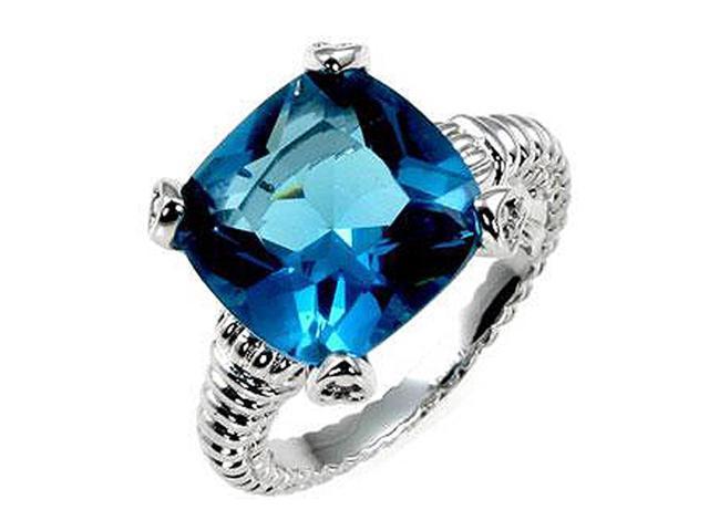 J Goodin Aqua Cushion Engagement Ring Size 8