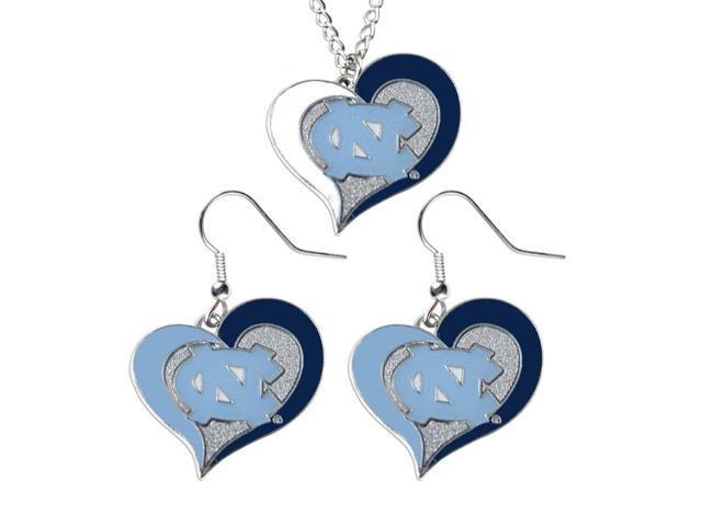NCAA UNC North Carolina Tar Heels Swirl Heart Dangle Earring and Necklace Set Charm Gift