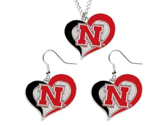 NCAA Nebraska Cornhuskers Swirl Heart Dangle Earring and Necklace Set Charm Gift