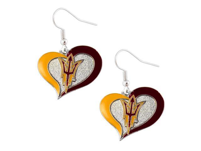Arizona State Sun Devils ASU Swirl Heart Dangle Logo Earring Set Charm Gift NCAA
