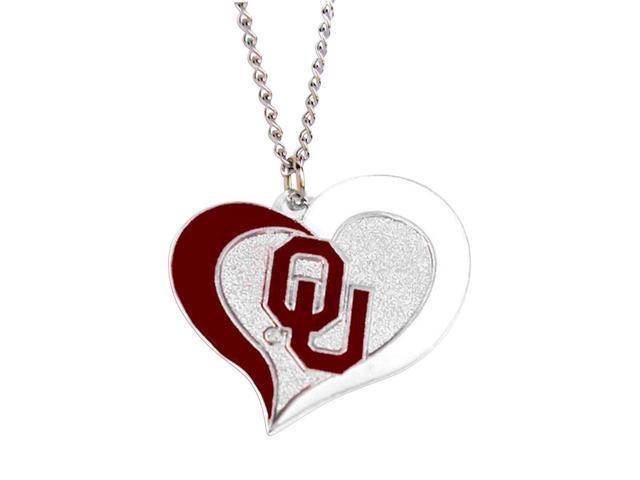 NCAA Oklahoma Sooners Swirl Heart Necklace Charm Gift Set