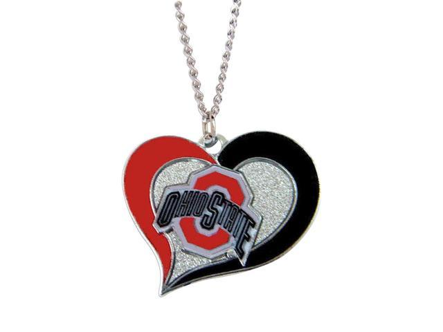 NCAA Ohio State Buckeyes Swirl Heart Necklace Charm Gift Set