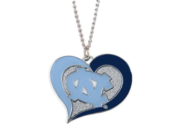 NCAA UNC North Carolina Tar Heels Swirl Heart Necklace Charm Gift Set
