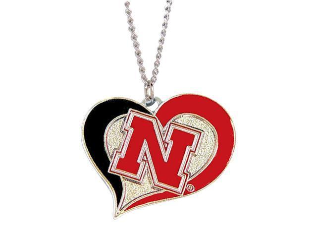 NCAA Nebraska Cornhuskers Huskers Swirl Heart Necklace Charm Gift Set
