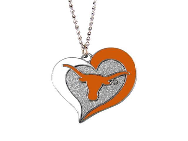 NCAA Texas Longhorns Swirl Heart Necklace Charm Gift Set
