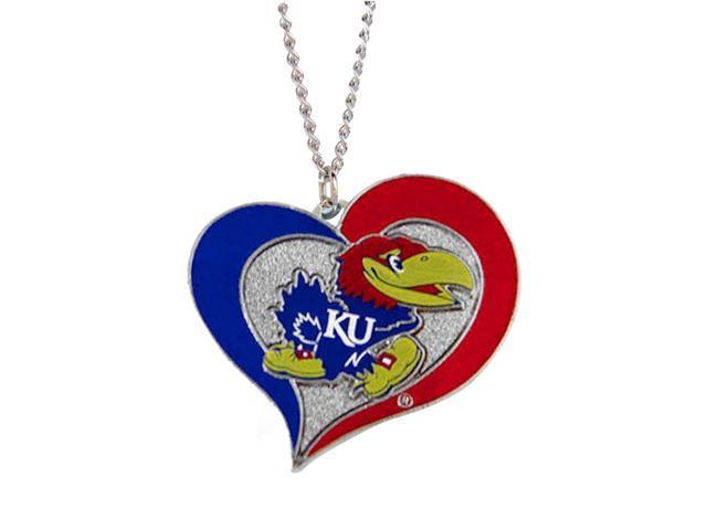 NCAA Kansas Jayhawks Swirl Heart Necklace Charm Gift Set