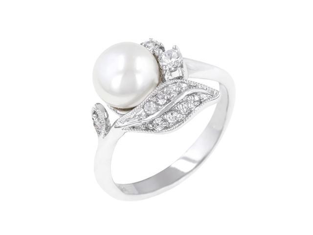 J Goodin Women Fashion Jewellery Fleur Pearl Ring Size 8