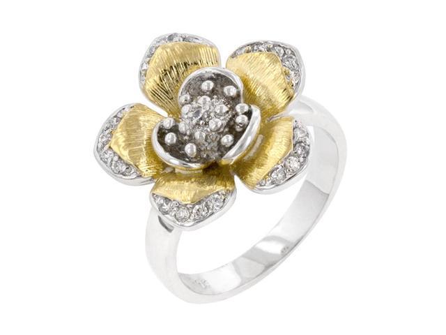 J Goodin Women Fashion Jewellery Golden Petals Cocktail Ring Size 5