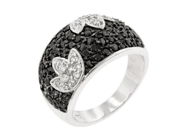 J Goodin Women Fashion Jewellery Black And White Tulip Ring Size 6