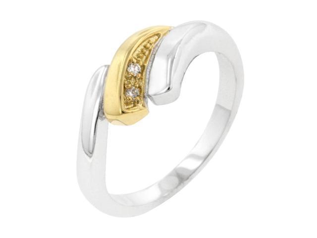 J Goodin Women Fashion Jewellery Two-Tone Swirl Ring Size 5