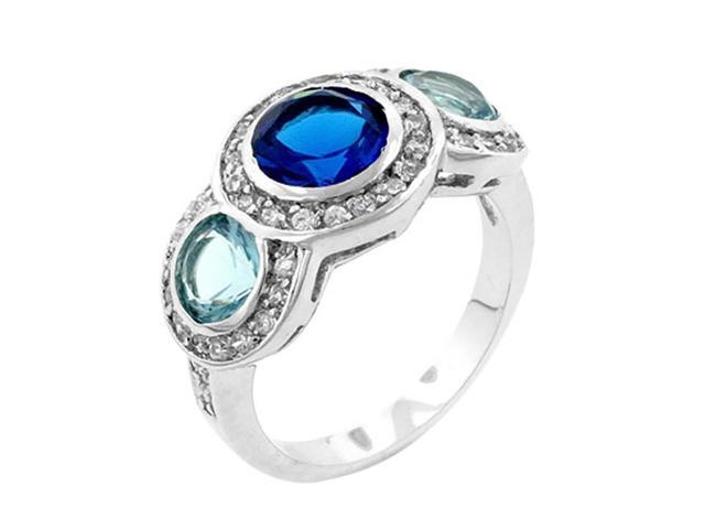 J Goodin Classic Blue Cubic Zirconia Ring Size 6