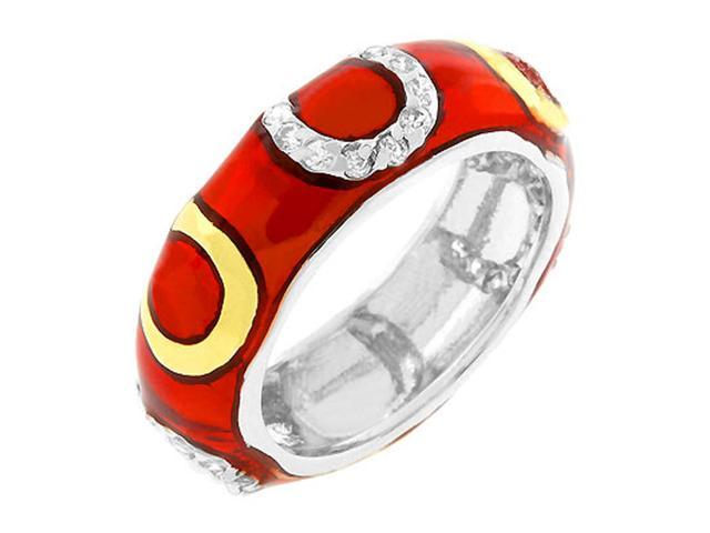 J Goodin Pink Enamel Horseshoe Ring Size 10
