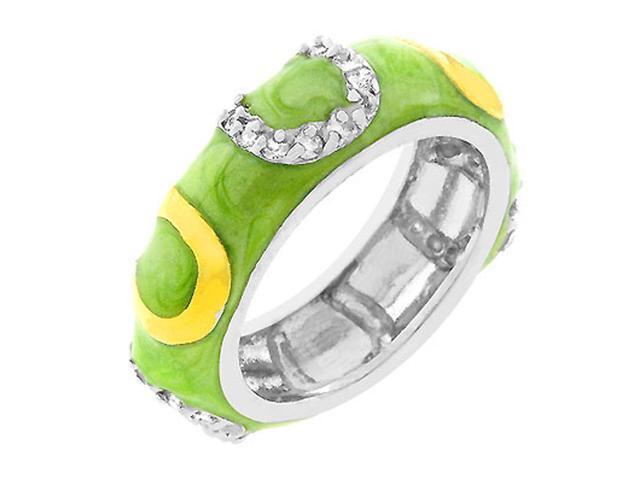 J Goodin Apple Green Enamel Horseshoe Ring Size 10