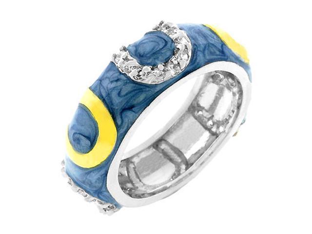 J Goodin Blue Enamel Horseshoe Ring Size 10