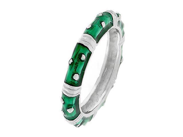 J Goodin Marbled Dark Green Enamel Stacker Ring Size 9
