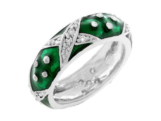 J Goodin Marbled Forest Green Enamel Ring Size 10
