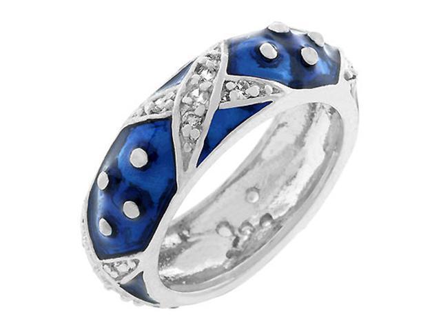 J Goodin Marbled Navy Blue Enamel Ring Size 10