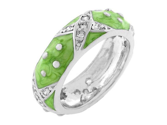 J Goodin Marbled Apple Green Enamel Ring Size 10
