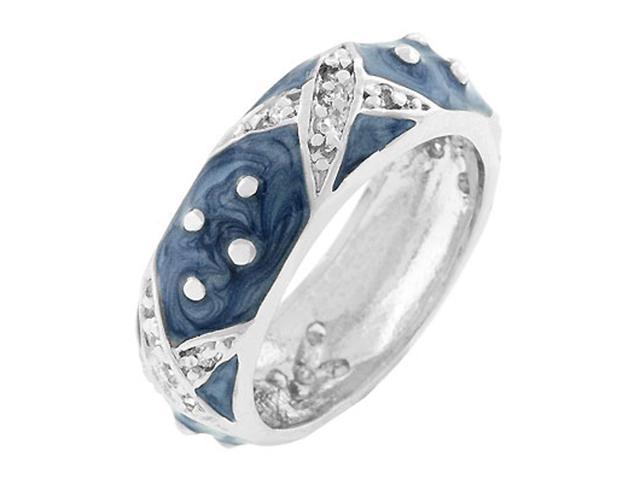 J Goodin Marbled Blue Enamel Ring Size 10