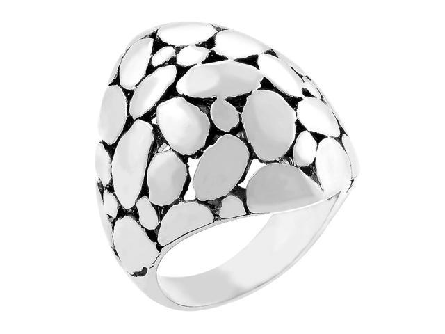 J Goodin Silvertone Cobblestone Ring Size 5