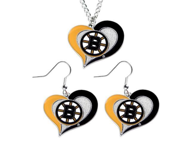 NHL Boston Bruins Swirl Heart Necklace and Earring Set Charm Gift