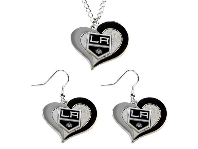 NHL Los Angeles Kings Swirl Heart Necklace and Earring Set Charm Gift