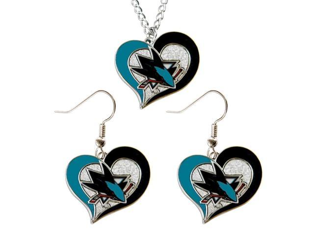 NHL San Jose Sharks Swirl Heart Necklace and Earring Set Charm Gift