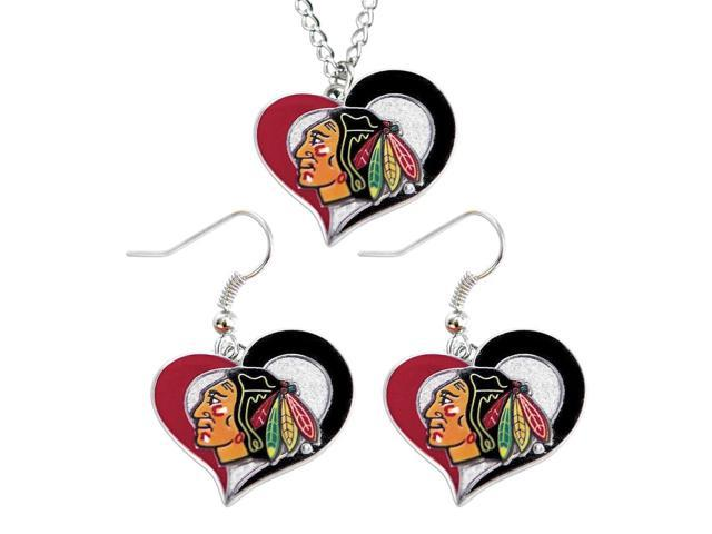 NHL Chicago Blackhawks Swirl Heart Necklace and Earring Set Charm Gift