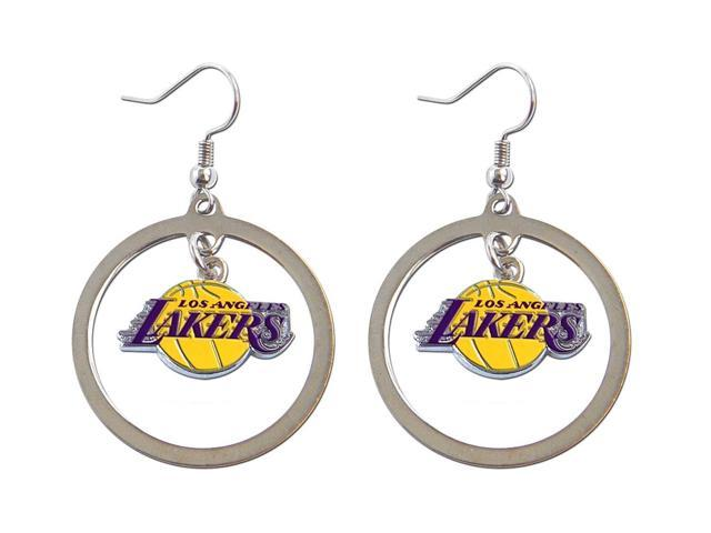Los Angeles Lakers Hoop Logo Earring Set NBA Charm Gift - Silver