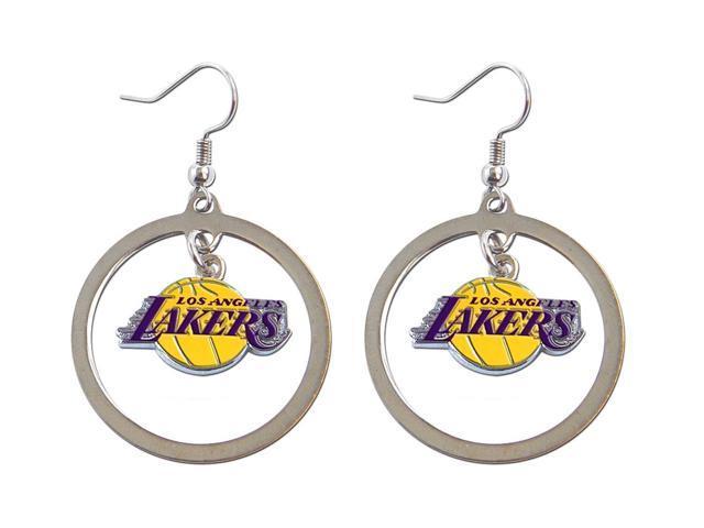 Los Angeles Lakers Hoop Logo Earring Set NBA Charm Gift - Silver