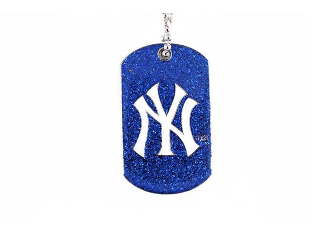 New York Yankees Dog Fan Tag Necklace Glitter Sparkle