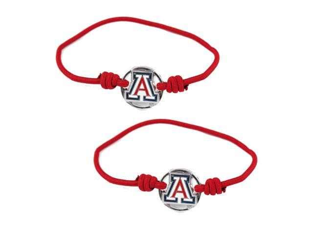 Arizona Wildcats NCAA Sports Team Logo Stretch Bracelet Hair Tie Band Ponytail Holder Set of 2