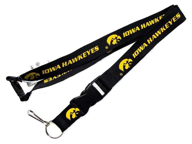 Iowa Hawkeyes Clip Lanyard Keychain Id Holder Ticket - Black