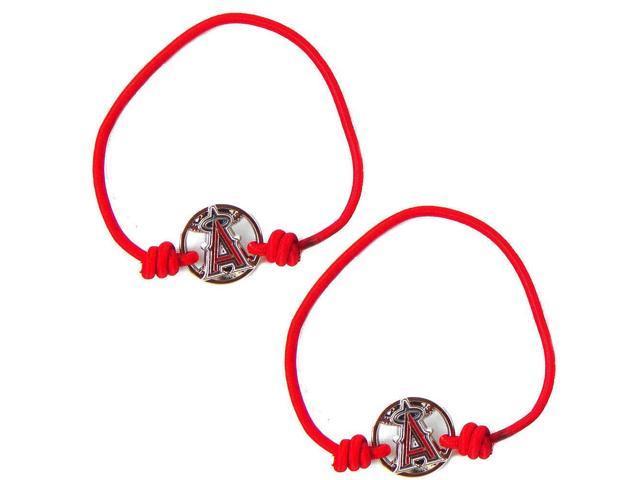 Los Angeles Angels MLB Sports Team Logo Stretch Bracelet Hair Tie Band Ponytail Holder Set of 2
