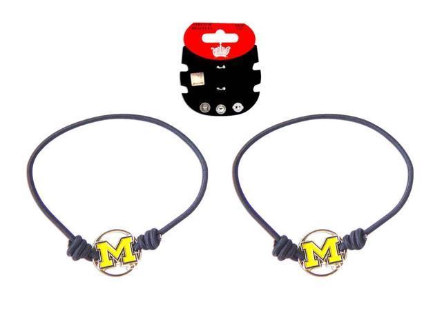 Michigan Wolverines Stretch Bracelets Set of (2) Hair Ties - NCAA
