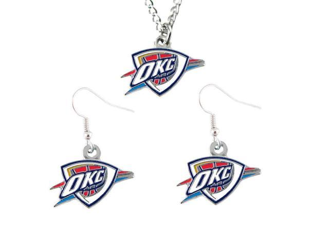 Oklahoma City Thunder Necklace And Dangle Earring Charm Set NBA