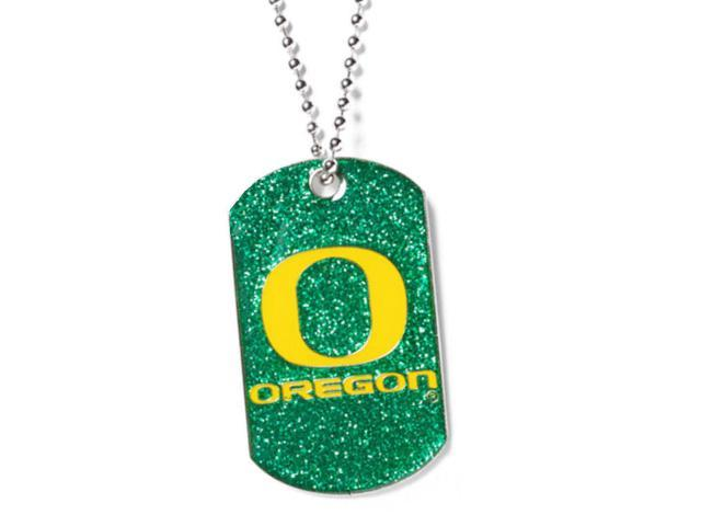 Oregon Ducks Dog Fan Tag Necklace Glitter Sparkle