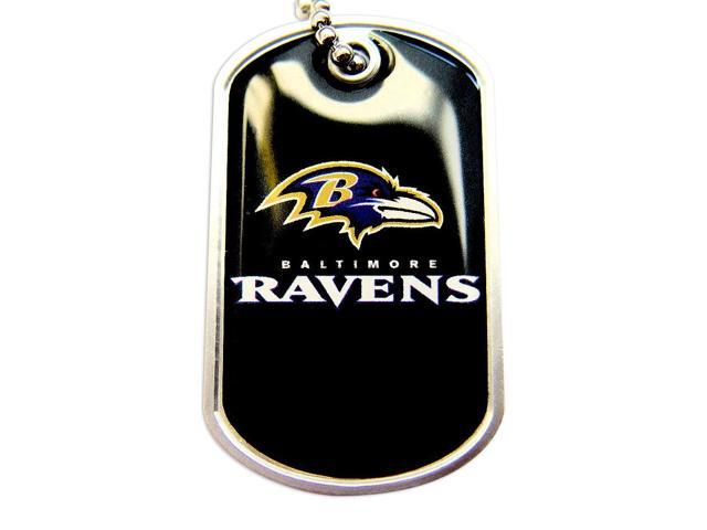 Ravens Dog Tag Domed Necklace Charm Chain