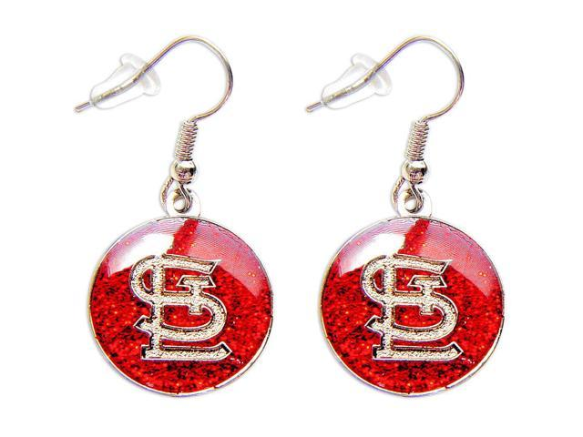 St Louis Cardinals Glitter Sparkle Dangle Logo Earring Charm Set - 5/8 round MLB