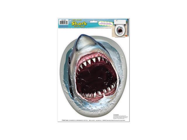 Beistle Home Decorations Party supply Shark Toilet Topper Peel 'N Place 12