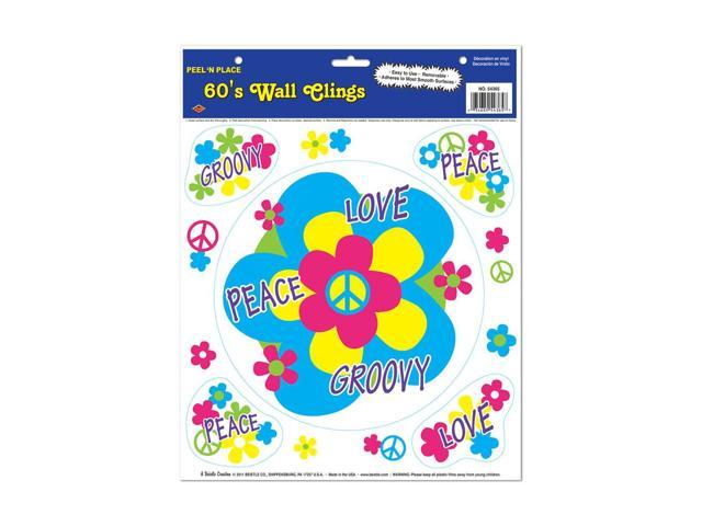 Beistle Home Decorations Party supply 60's Peel 'N Place 12