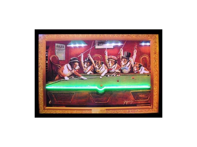 Neonetics Dogs Playing Pool Neon Led Picture