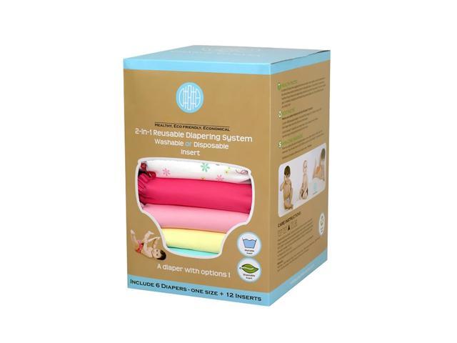 Charlie Banana 6 Diapers 12 Inserts Set Butterfly Medium
