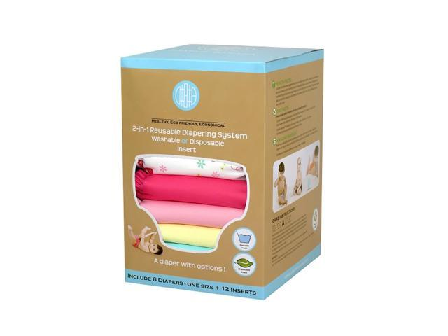 Charlie Banana 6 Diapers 12 Inserts Set Buttefly Large