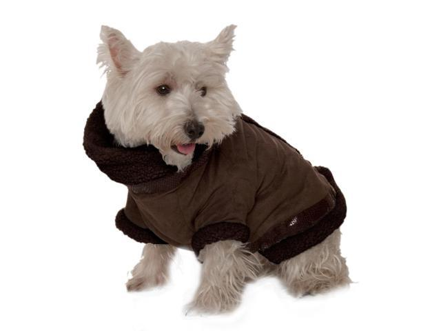 Kumfy Tailz Small Pet Animals Safe Protective Winter Coat Small Brown Suede With Brown Sherpa