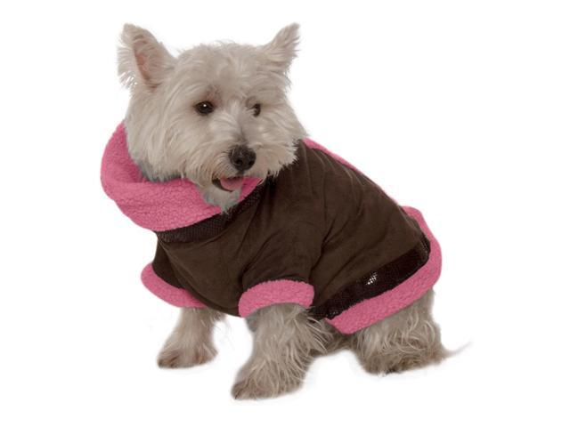 Kumfy Tailz Small Pet Animals Safe Protective Winter Coat X-Small Brown Suede With Pink Sherpa