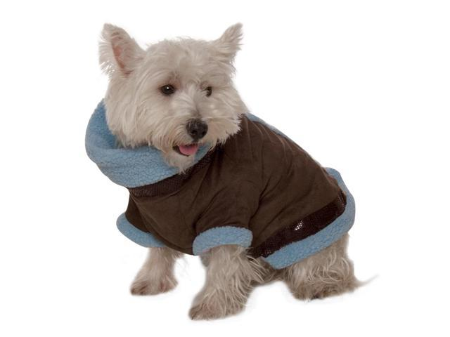 Kumfy Tailz Small Pet Animals Safe Protective Winter Coat Medium Brown Suede With Light Blue Sherpa
